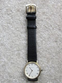 Watch 14K Yellow Gold Case Zenith 17 Jewel New Black Leather Band