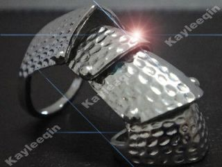 Fab Silver Armour Joint Cage Hinge Ring Hammered Goth Punk Rock Biker