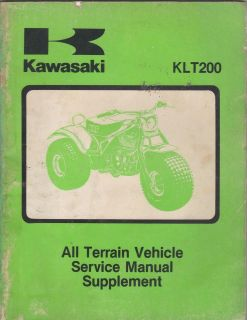 1981 1983 KAWASAKI ATV 3 WHEELER KLT200 SERVICE MANUAL SUPPLEMENT