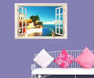 Mediterranean Scenery Window Home Decor Sticker Removable Wall