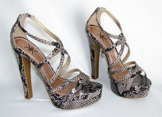 Kim Kardashian Kollection Python Platform Strappy High Heel Sandals Sz