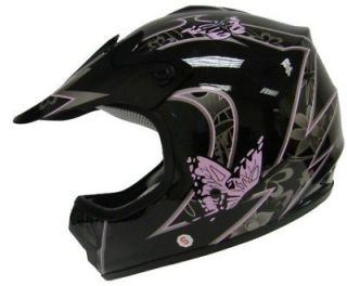 YOUTH BLACK PINK BUTTERFLY FLOWER DIRT BIKE ATV MOTOCROSS HELMET MX ~L