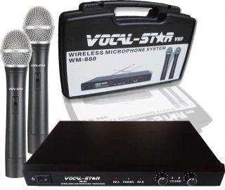 WM 880 Dual Twin 2 Vhf Wireless Microphones For Karaoke Machine DJPA