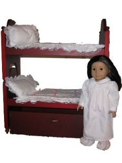 Doll Furniture Bunk bed w/ Trundle & linens fits AMERICAN GIRL DOLL