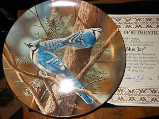 KNOWLES BLUE JAY BIRDS BY KEVIN DANIEL COLLECTOR PLATE MINT COA