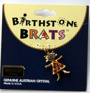Girl Birthstone Brat Kid Baby Charm   gold plated with genuine