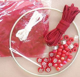 Red Dream Catcher CRAFT KIT *low s/h Feathers, For Kids, Toys **
