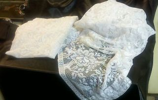 RARE VINTAGE WHITE LACE CURTAINS & VALANCE SET VICTORIAN COLONIAL