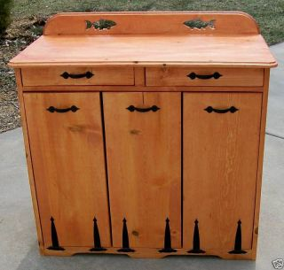 NEW** Custom Triple Wood Trash Bin   choose accents