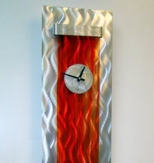Large Modern Abstract Silver/Red Metal Wall Art Decor Sculpture Blaze