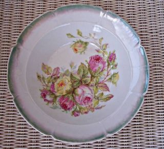 German 1890s Bavaria Pink Yellow Roses Porcelain Serving Bowl