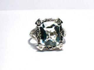 Ladies Antique Victorian 14K White Gold Filigree Ring w/ Large