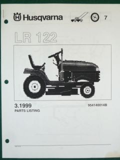 HUSQVARNA LR 122 LAWN TRACTOR MOWER PARTS LIST SERVICE MANUAL