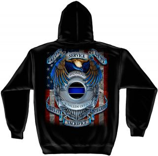 Law Enforcement Hoodie Police Honor Our Fallen Officers Badge Service