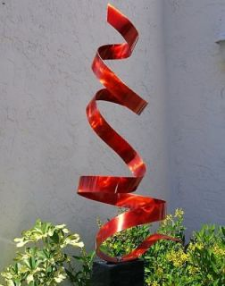 Modern Abstract Metal Art Decor Freeform Sculpture Red Twist By Jon