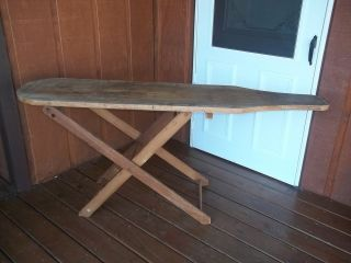 Vintage Primitive Used Large Wood Ironing Board good for decor