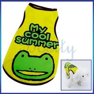 Frog Print T shirt Vest Sleeveless Coat Clothes for Pet Dog Cat M