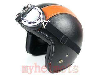 Black/Orange Leather Harley Open Face Helmet Motorcycle Motorbike