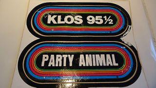 NEW 1980s Vintage KLOS Party Animal Rainbow Vinyl Bumper Sticker Set