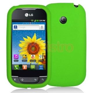 Green Silicone Rubber Skin Case Cover for LG Net10 Optimus Net Phone
