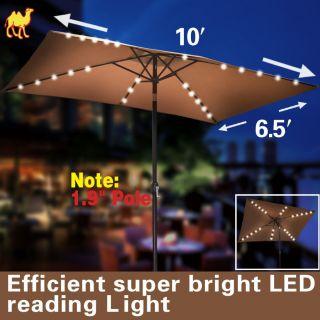 10x6.5 OUTDOOR SOLAR 26 LED LIGHTS ALUMINIUM PATIO UMBRELLA