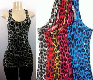 New Womens Animal Print Leopard Tank Top Casual Sleeveless Cross Back