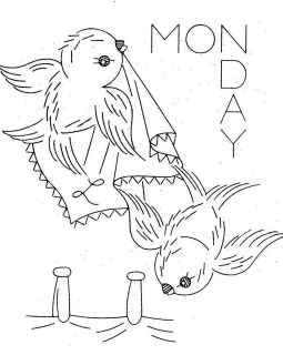 Hand Embroidery PATTERN 626 Birds Days of the Week for Towels 1960s