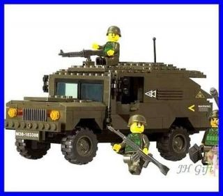 Army Warrior Battle Humvee Chariot Minifigures Military Building Block