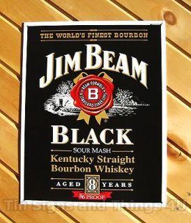 Jim Beam BLACK Label Whiskey TIN SIGN bar pub vtg metal wall decor