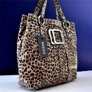 Guess Brown Leopard Dusty Exotic Handbag Purse Bag