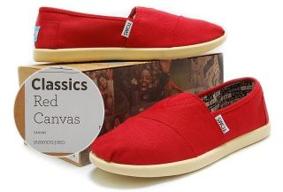 Toms Classics Red Canvas Youth Kids Shoes 012001C10 Sz 12Y~6Y Free