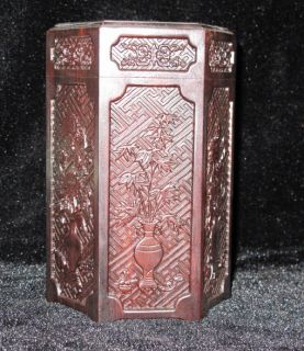 Hand carved Collectible Redwood Tea box height 14.5cm width 9.6cm