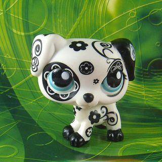 Littlest Pet Shop #1613 RARE BLACK WHITE FLOWER DALMATION DOG Toy