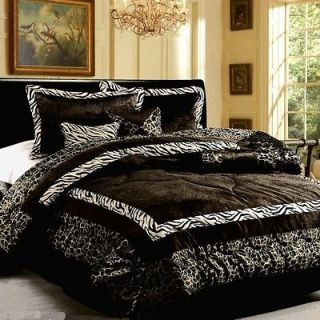7PC Luxury Faux Fur Safarina Black&White Zebra Animal Comforter QUEEN