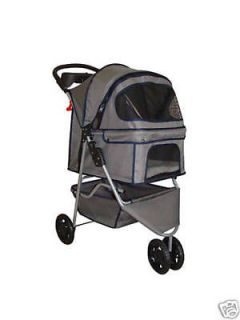 New Classic Fashion Gray 3 Wheels Pet Dog Cat Stroller w/Rain Cover