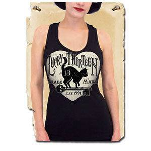 Lucky 13 Black Kitty Cat Prowl Pinup Tank Top PUNK Rockabilly Goth Emo