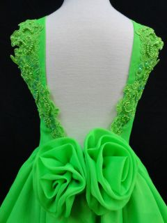 National Glitz Pageant Low Cut Back Green Dress Size 1 2 3 4 5 6 7