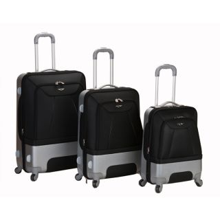 Rome Expandable Lightweight Spinner 3 Piece Luggage Set   Black