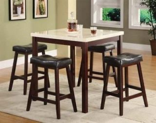White Faux Marble Top Counter Height Dining Table Set