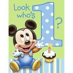 Baby Mickey Mouse First 1st Birthday Party Invitations