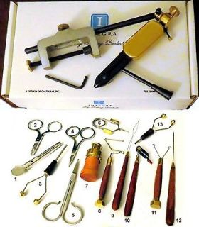 KIT   14 PREMIUM FLY TYING TOOLS w/ MARK III VISE & WOOD TRIM TOOLS