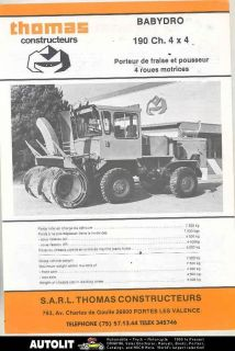 1983 ? Thomas Babydro 190 4x4 Snow Blower Snow Plow Truck Brochure