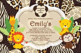 30 Cute PHOTO JUNGLE Tiger Giraffe Lion MONKEY Baby Shower Invitations