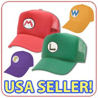NEW SUPER MARIO + LUIGI BROS + WARIO + WALUIGI CAP HATS   SHIPPED FROM