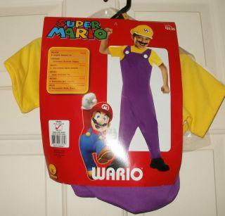New Boys WARIO Super Mario Nintendo Costume Jumpsuit Mustache Hat S or