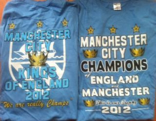 MANCHESTER CITY CHAMPIONS T SHIRT 2012 KINGS OF ENGLAND SCREEN PRINTED
