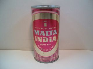 MALTA INDIA 10 OZ. N/A EMPTY STRAIGHT STEEL FAN TAB BEER CAN. PUERTO