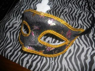 Black & Gold Eye Face Mask Mardi Gras Masquerade Ball Sexy Party Dress