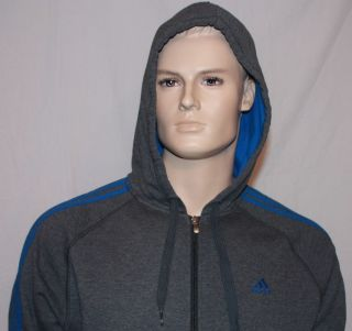 MENS ADIDAS ESSENTIALS FULL FLEECE TRACKSUIT GREY BLUE BNWT