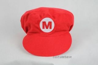 Super Mario Bros Red Cap Adult Kids Hat Costume Flat Top Taper down